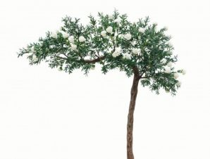 SpaceGreen Τεχνητό Πράσινο Δέντρο με Λευκά Άνθη 320 εκ.