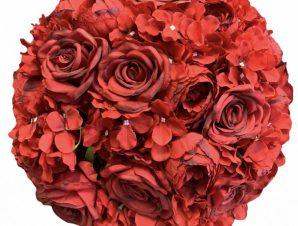 Artisti – Elena Διακοσμητική Μπάλα Λουλούδια με κόκκινα υφασμάτινα τριαντάφυλλα 45 εκ Vintage