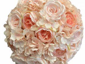 Artisti – Elena Διακοσμητική Μπάλα Λουλούδια με ροζ υφασμάτινα τριαντάφυλλα 45 εκ Vintage