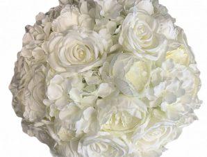 Artisti – Elena Διακοσμητική Μπάλα Λουλούδια με λευκά υφασμάτινα τριαντάφυλλα 45 εκ Vintage